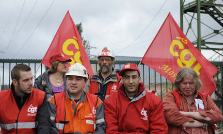 French CGT labour union workers block ac