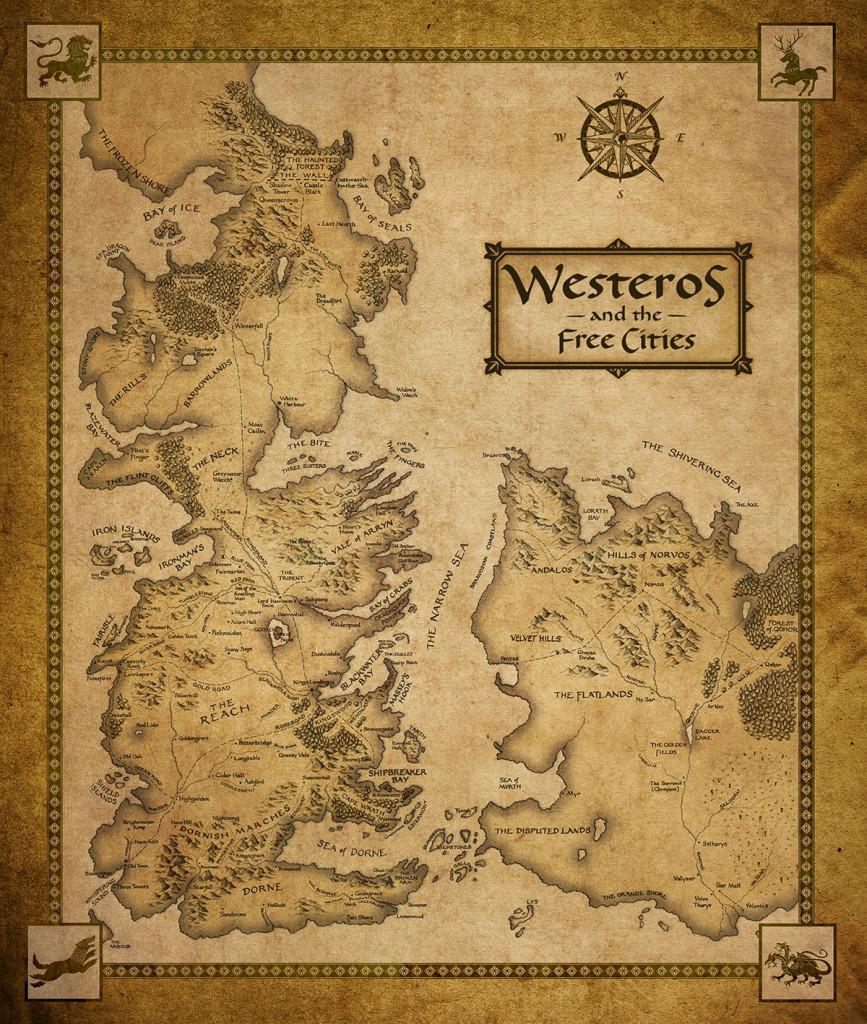 Карта Вестероса и Вольных Городов