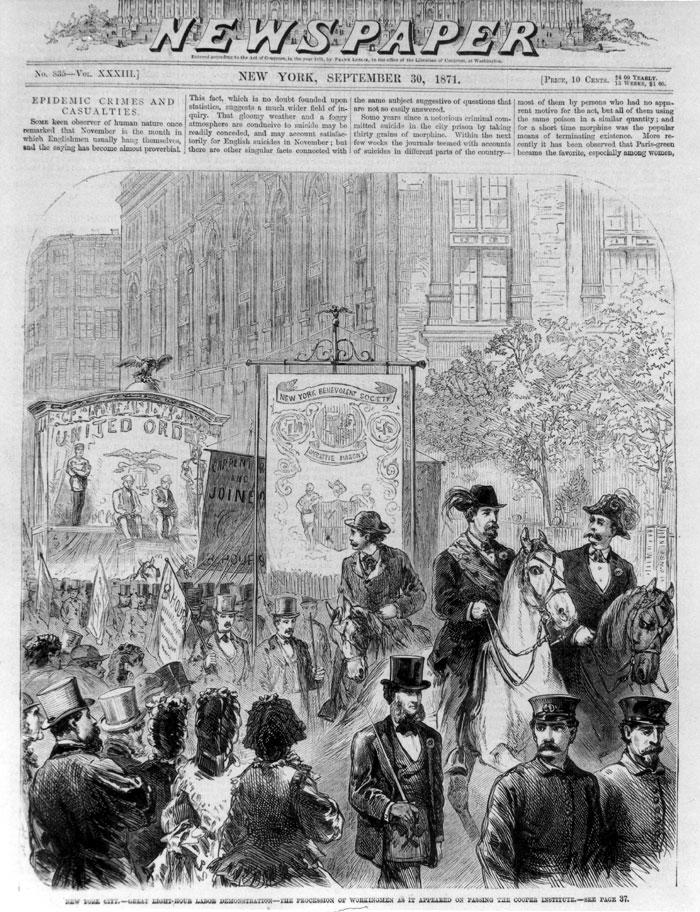 Демонстрация за 8-часовой рабочий день в 1871 году