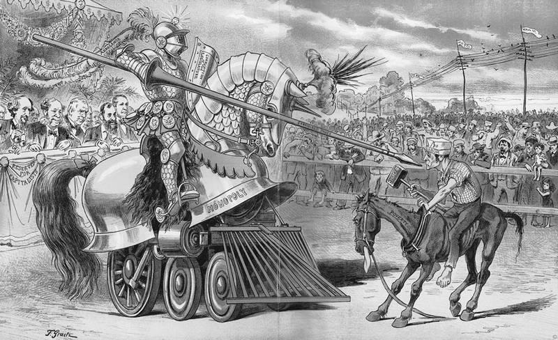Поединок труда и капитала. Карикатура 19-го века